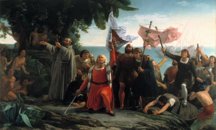 Primer desembarco de Cristóbal Colón en América.