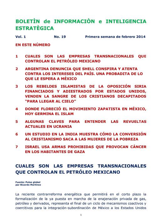 BIIE Vol.01 No.19 - Febrero 2014 Primera Semana