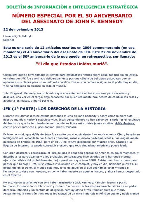 BIIE Vol.01 No. Especial 50 Aniversario JFK - 22 Noviembre 2013